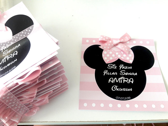 Minnie Mouse Temalı Doğum günü Dilek Kartı