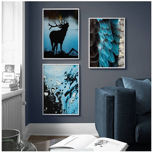 Blue Nature 3lü Tablo Poster Kanvas Seti