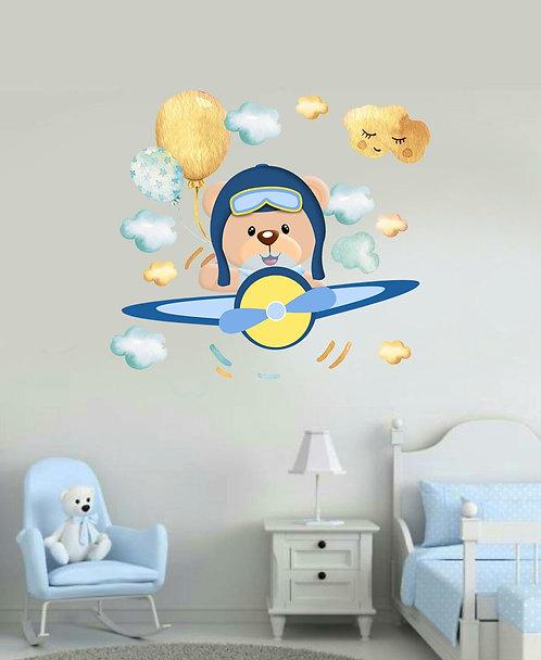 Uçak Pilotu Ayıcık Duvar Sticker Çıkartma