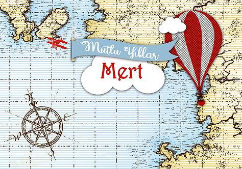 Atlas Harita Balon Uçak Temalı Afiş