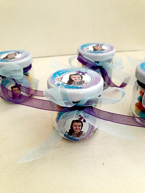 Elsa Karlar Ülkesi Frozen Mor Temalı Doğum günü Hediye Kavanozu