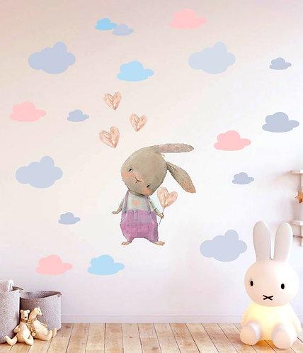 Sevimli Tavşan Kalp Balonlu Duvar Sticker Çıkartma Pembe