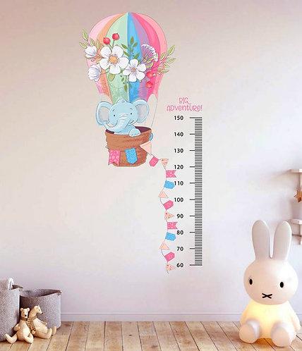 Boy Ölçer Uçan Balonlu Fil Duvar Sticker Çıkartma