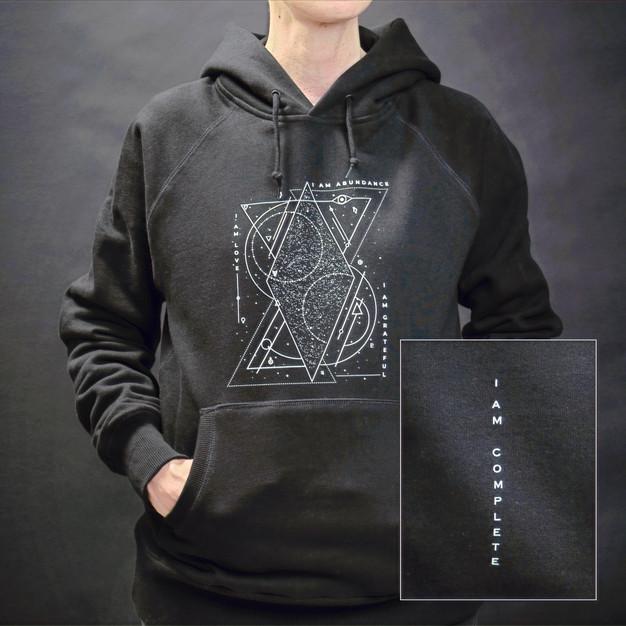 """Om & Ah """"cosmic mantra"""" hoodie, black"""