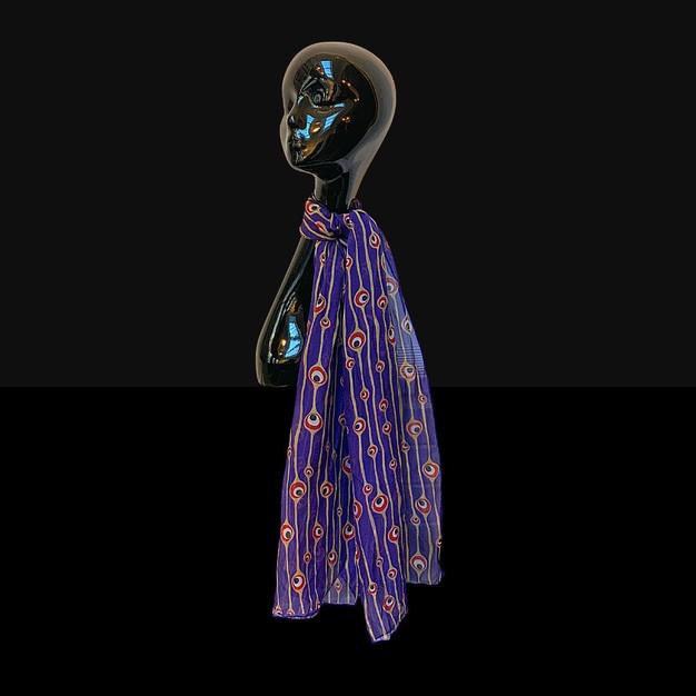 Silk chiffon scarf - Blue Velvet