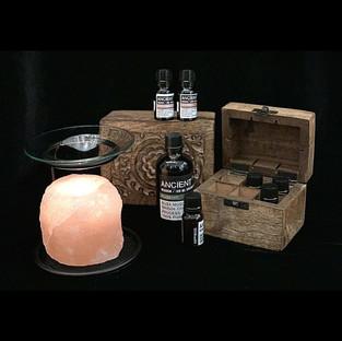 essential oil selection and salt burner