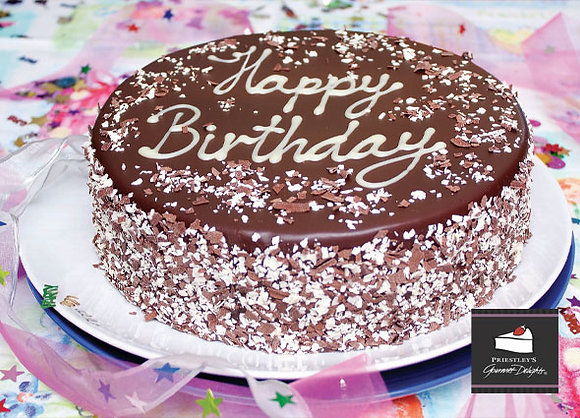 Priestleys Chocolate Birthday Cake Uncut 2.48KG - 16 Serves (2)