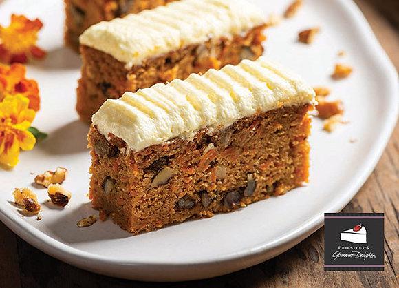 Priestleys Carrot Cake Slice Pre Cut  (125GX15) (4)