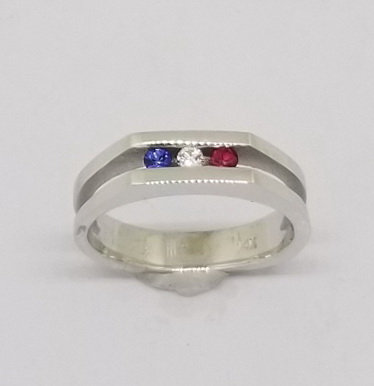 14k White Gold Ring with Ruby, Sapphire & Diamonds