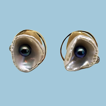 14k Yellow & White Gold Pearl & Diamond Cuff Links
