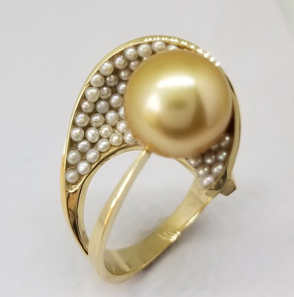 14k Yellow Gold Ring with Golden Pearl & Seed Pearls