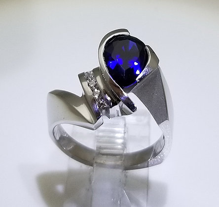14k White Gold Ring with Pear Cut Sapphire & Diamond Channel