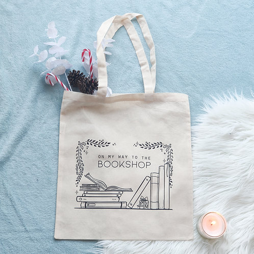 """Tote bag """"On my way to the bookshop"""""""