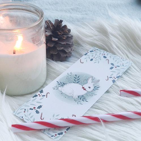 Petit marque-page Lapin de Noël