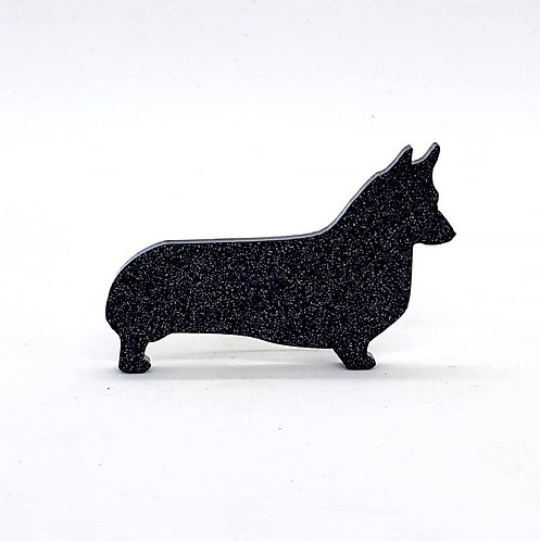 WELSH CORGI (PEMBROKE) - Standard Black Glitter