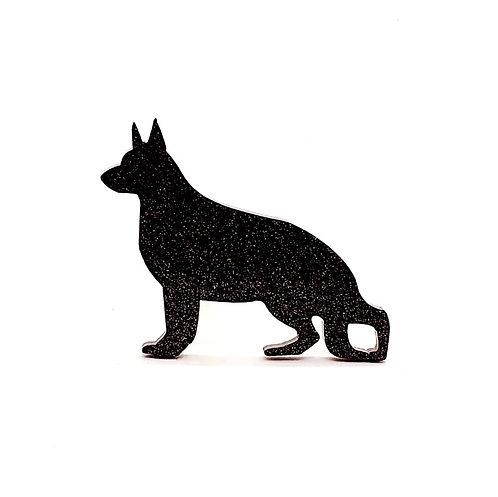 GERMAN SHEPHERD DOG - Standard Black Glitter