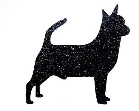 CHIHUAHUA (SMOOTH COAT) - Standard Black Glitter