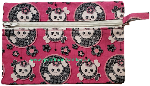 Pink Skull Diabetic Accessory Carrying Case