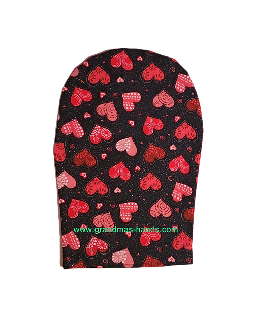 Hearts on Black - Adult Ostomy Bag Cover