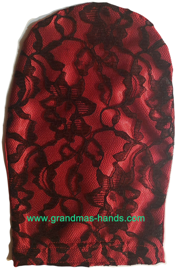 Red Lacy Satin Ostomy Bag Cover