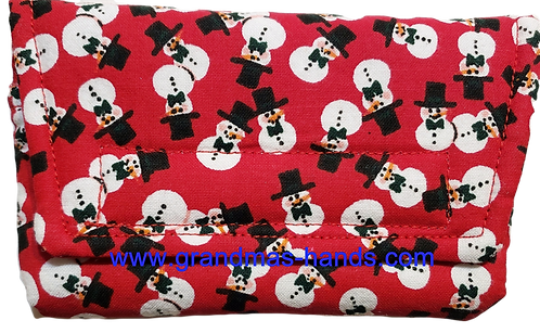 Snowmen on Red Background - Insulin Pump Pouch
