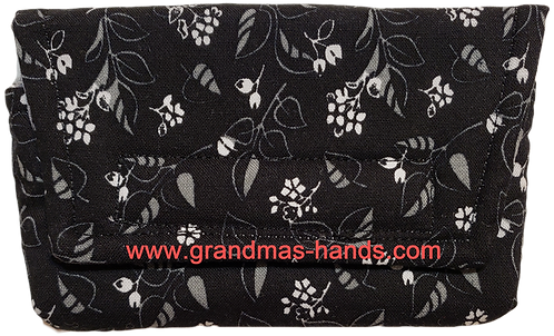 White Flowers on Black - Insulin Pump Pouch