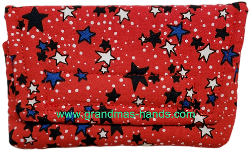 Blue and White Stars on Red - Insulin Pump Pouch