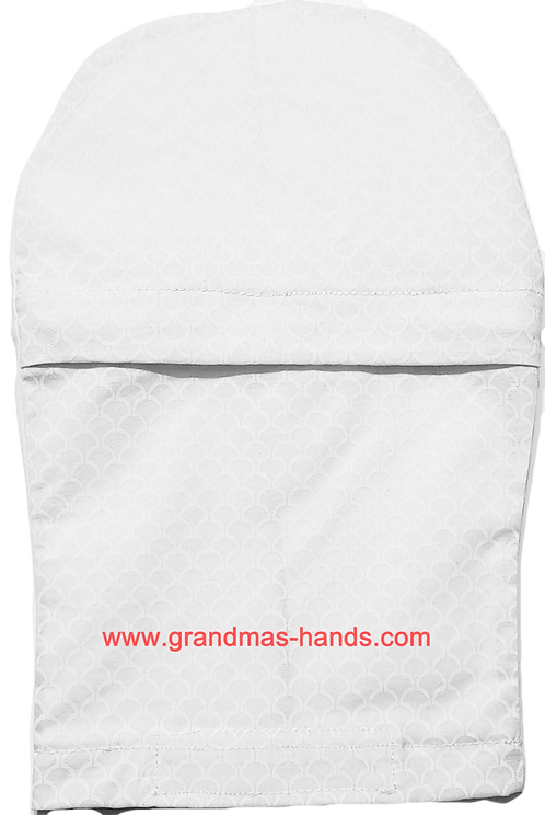 White Linen Zippered - Adult Peek-a-Boo Ostomy Bag Cover