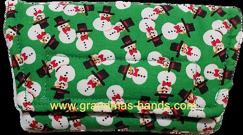 Snowmen on Green Background - Insulin Pump Pouch