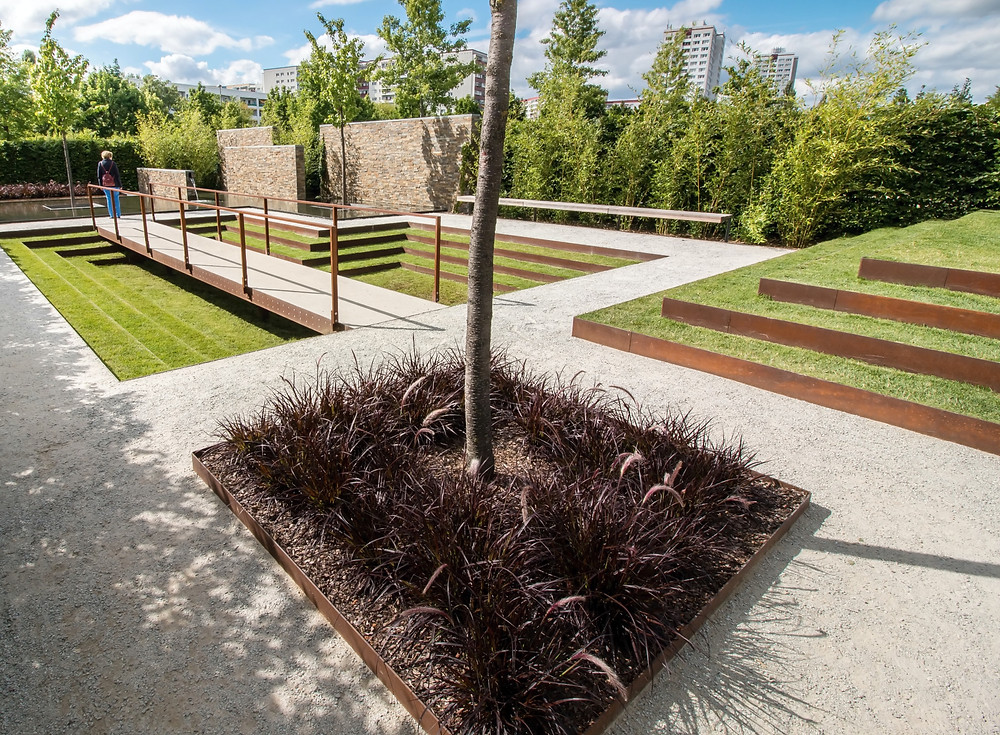 Cor-ten weathering steel edging and planters