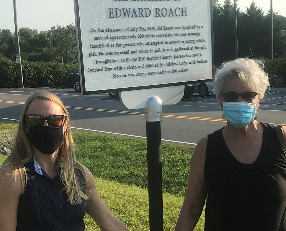 Angie Brown (right) and Brandy Stewart endeavored to have Mr. Roach's lynching publicly recognized in Person County