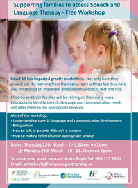 Free Workshop Supporting Families to  access Speech and Language Therapy