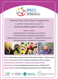 Parents Plus Early Years Programme started on April 14th on Zoom
