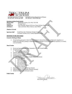 Oct. Board Meeting Draft Agenda