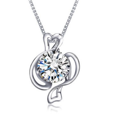 Silver Wave Crystal Balance Pendant Necklace Pisce