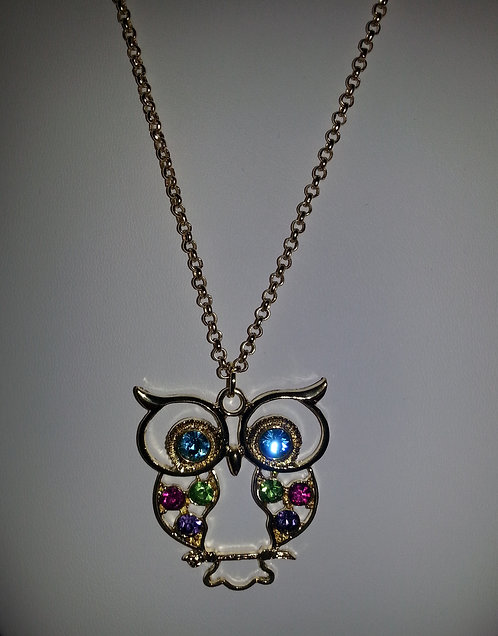 Gold and Colorful Owl Stones Necklace
