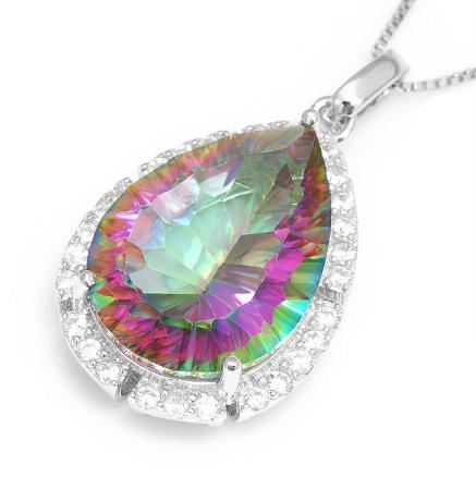 Teardrop Mystic Topaz necklace