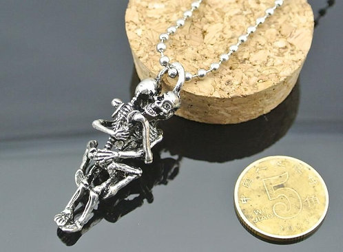 Naughty Skulls Skeleton Snuggles Pendant Silver