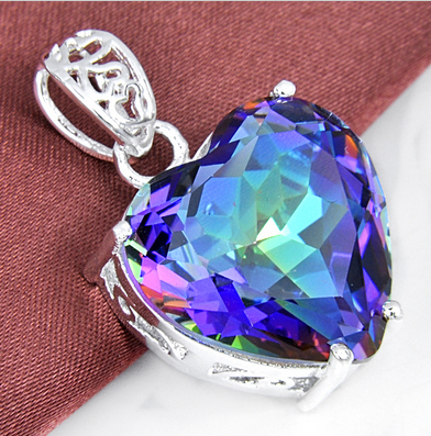 Large Rainbow Fire Topaz Heart Necklace Silver a