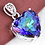 Thumbnail: Large Rainbow Fire Topaz Heart Necklace Silver a