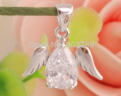 Clear Angel Pendant Sterling Silver - Zirconia