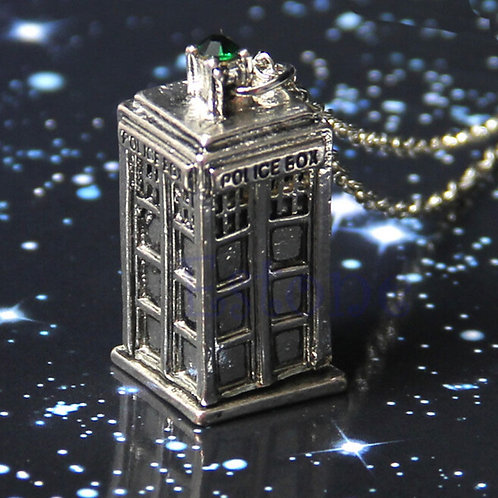 Silver Pewter TARDIS Doctor Who Necklace Green