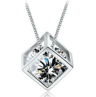 Silver CZ Diamond Crystal Love Magic Cube Square