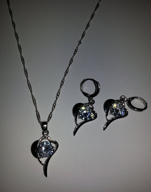 Heart sterling (925) silver & CZ Necklace & Earrin