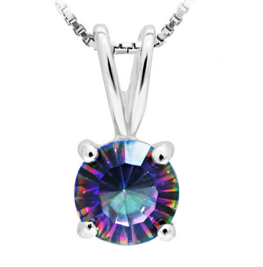 4ct Rainbow Fire Topaz Pendant Necklace