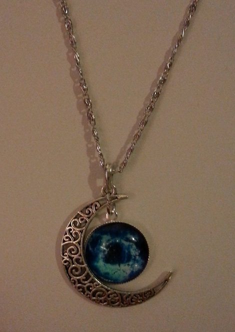 Blue Moon and Solar Galaxy Silver Necklace
