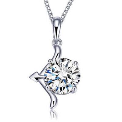 Silver Bow Arrow Crystal Pendant Chain Sagittarius