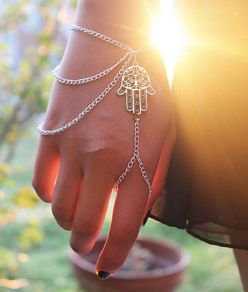 Hamsa Fatima Bracelet Ring Om Prayer Chain