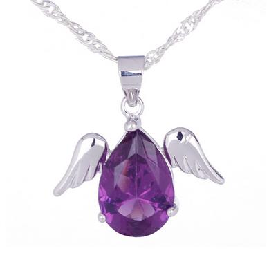 Purple Angel Wings Tear Drop Necklace