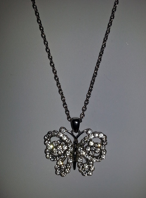 Rhinestone Encrusted Butterfly Necklace